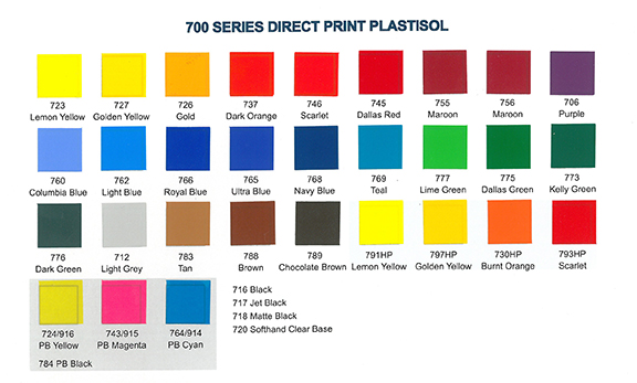 Product Data Sheet Color Chart
